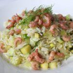Riz aux crevettes et aux légumes verts