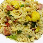 Riz curry, chou-fleur et porc