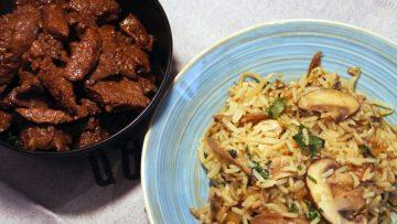 Riz au légumes et au boeuf mariné