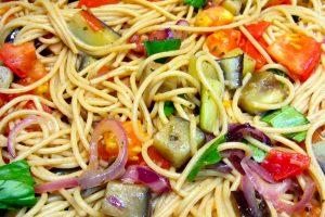 Spaghetti aubergines et tomates