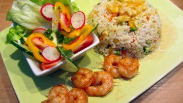 riz et scampis à la sauce curry coco