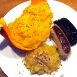 purée de potiron, boudin et compote d'automne