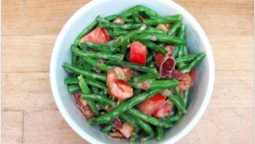 salade d'haricots verts et de bacon
