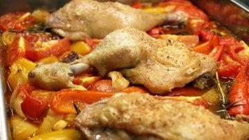 Cuisses de poulet rôties au poivron et chorizo