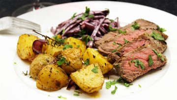 steak, pdt et chou rouge