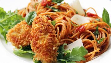 spaghetti croquant de poulet